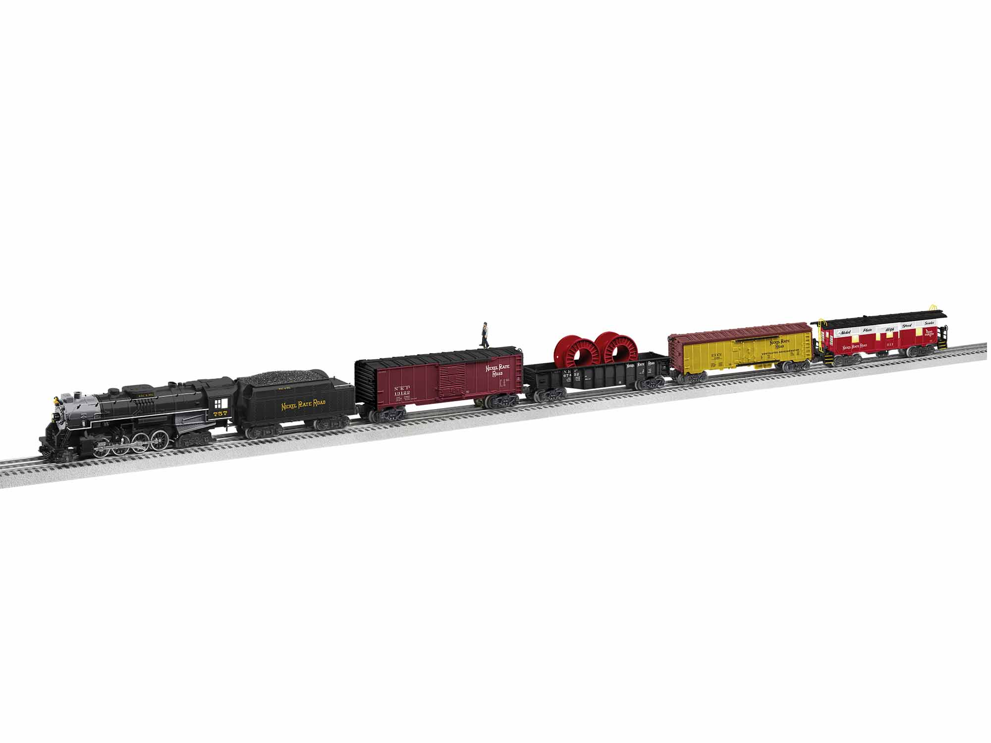 Lionel 1922020 O Berkshire 2-8-4 Fast Freight Train-Only Set 3-Rail LionChief+ 2.0 Nickel Plate Road Loco and 4 Cars