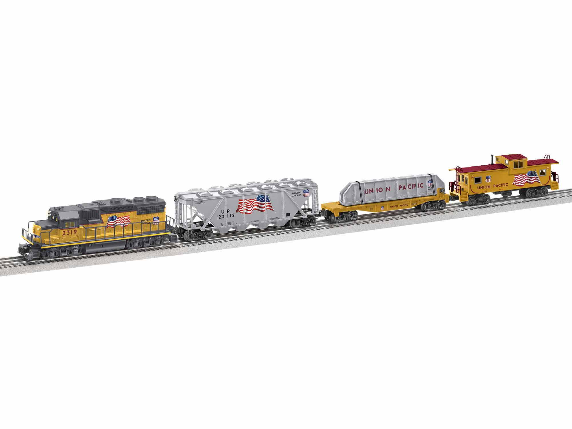 Lionel 1923110 O America Proud Freight Set 3-Rail LionChief Bluetooth Union Pacific GP38