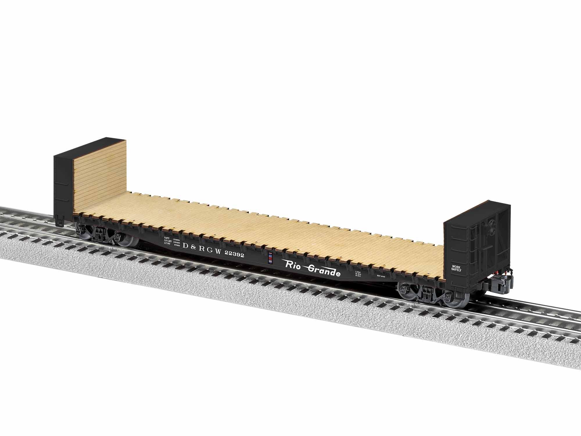 LNL1926401 Lionel O 50' Bulkhead Flatcar, D&RGW #22392