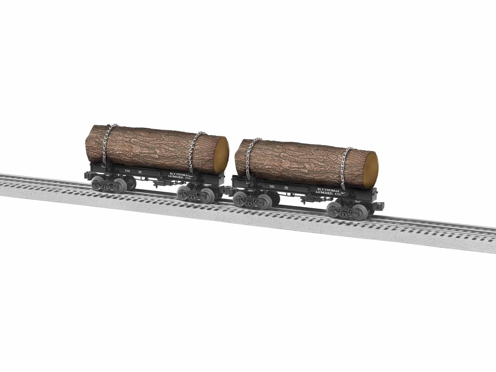 LNL1926540 Lionel O Skeleton Log Car, Ely Thomas (2) Pack A