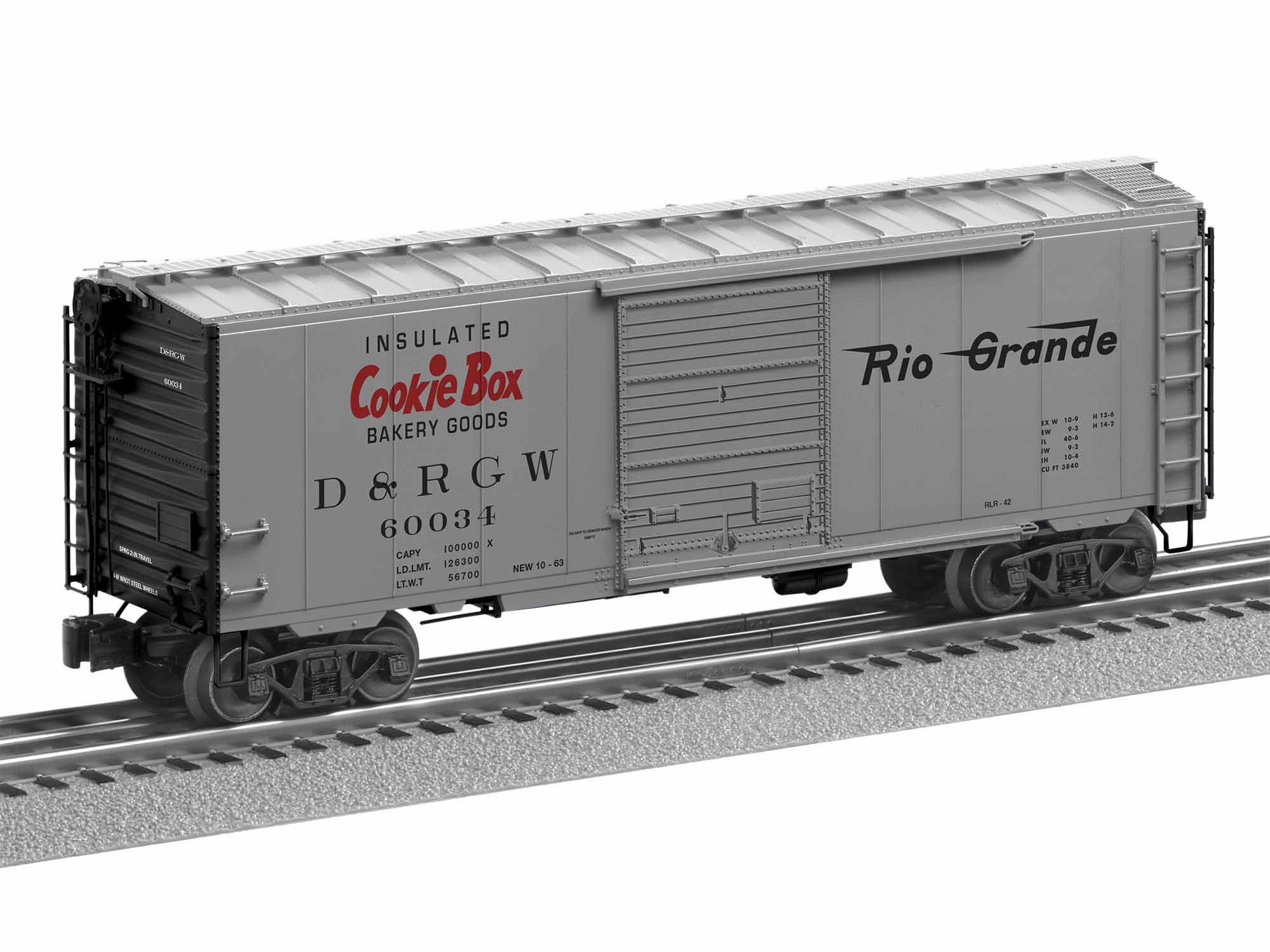 LNL1926650 Lionel O PS-1 Box w/Freight Sound,D&RGW/Cookie Box #60034