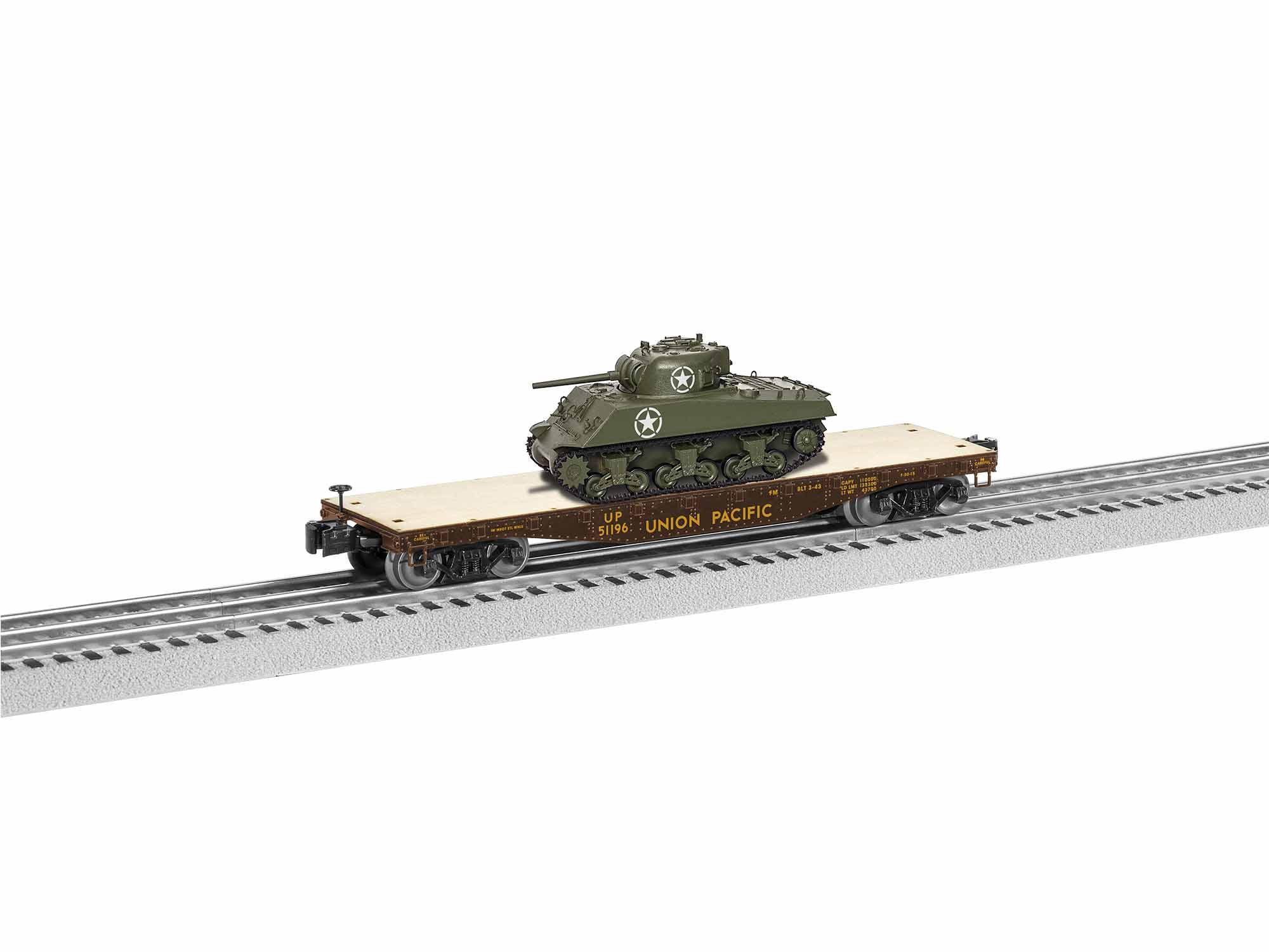 Lionel 1926742 O 40' Flatcar w/ Sherman Tank Load 3-Rail Union Pacific 51196