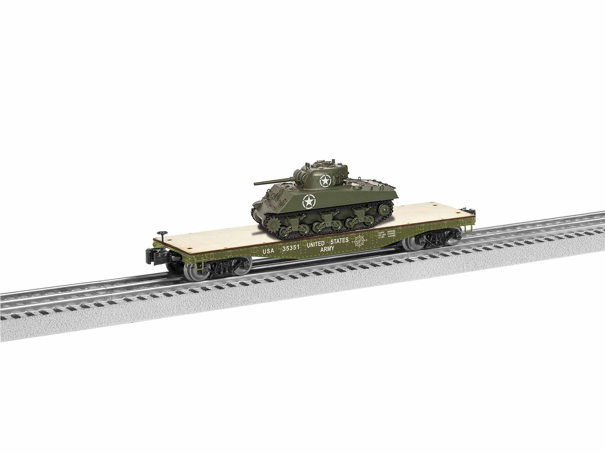 Lionel 1926751 O 40' Flatcar w/ Sherman Tank Load 3-Rail US Army 35351 434-1926751