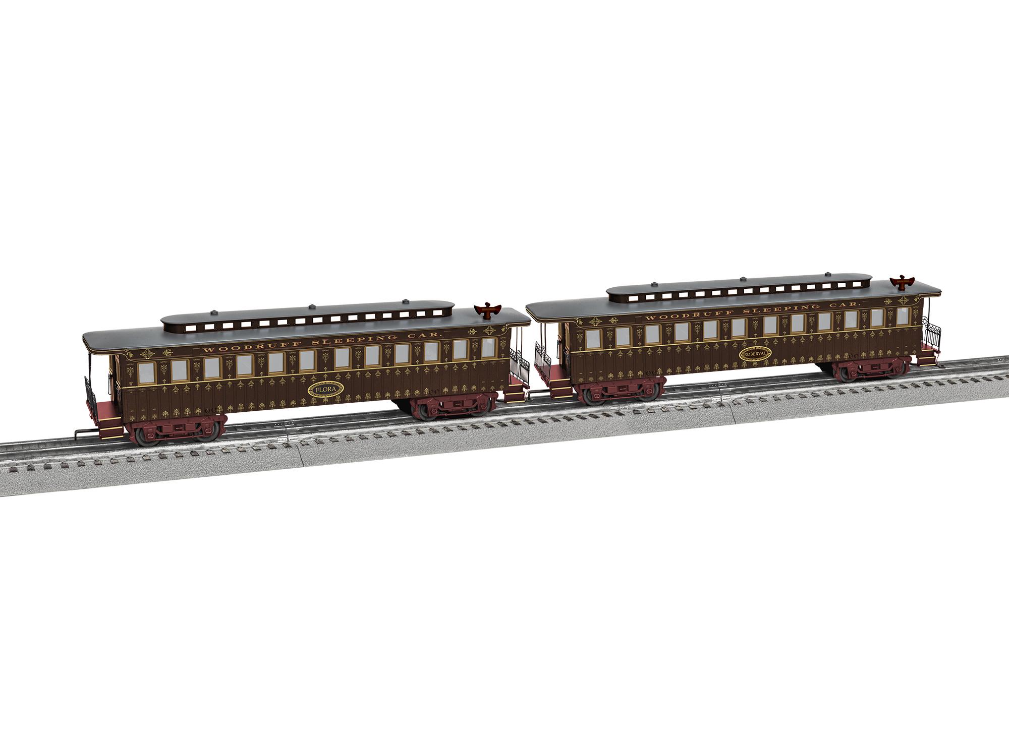 Lionel 1927690 O Wood Sleeper and Parlor Coach Set 3-Rail Woodruff 434-1927690