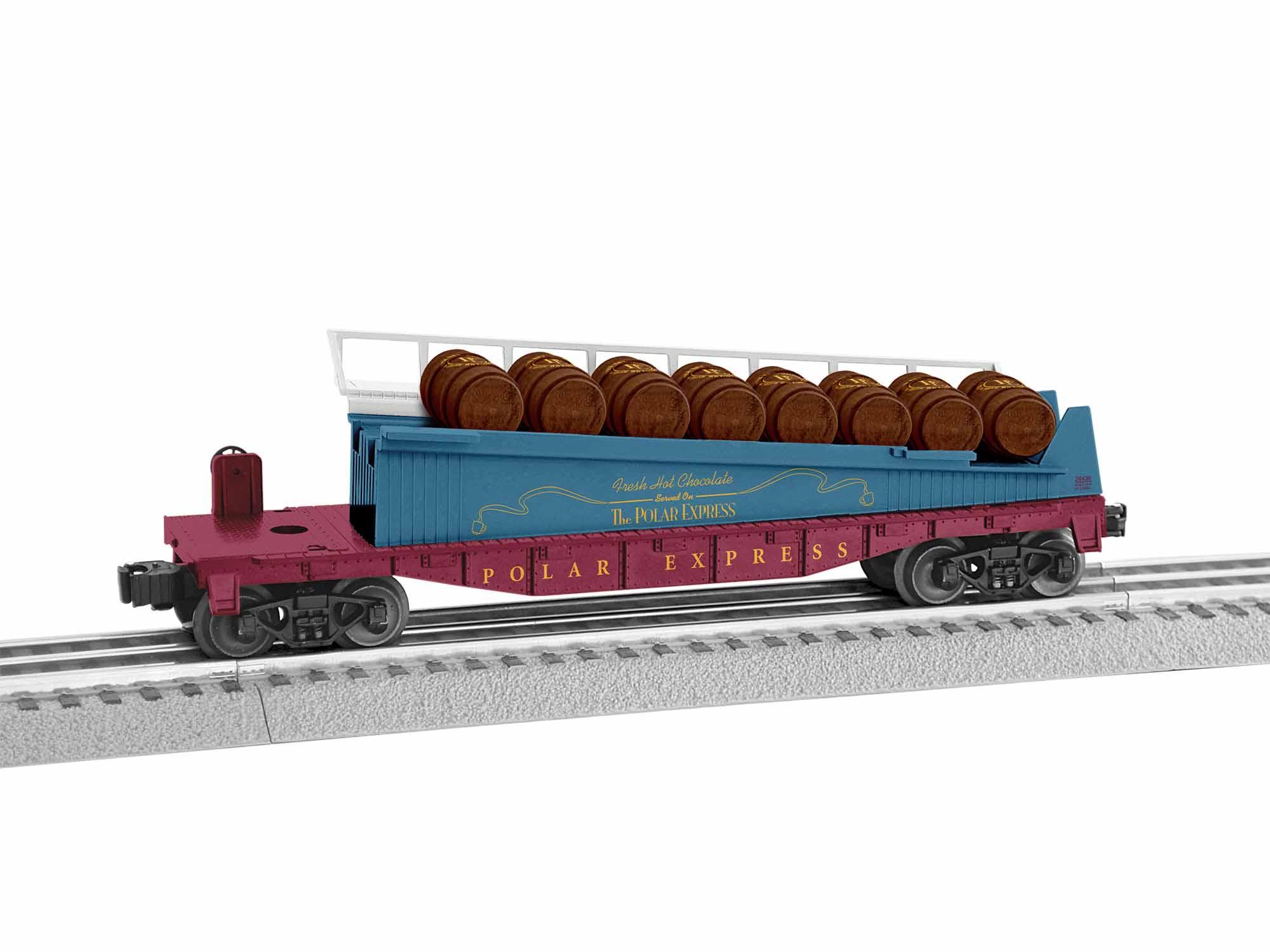 Lionel 1928430 O Barrel Ramp Car 3-Rail Polar Express