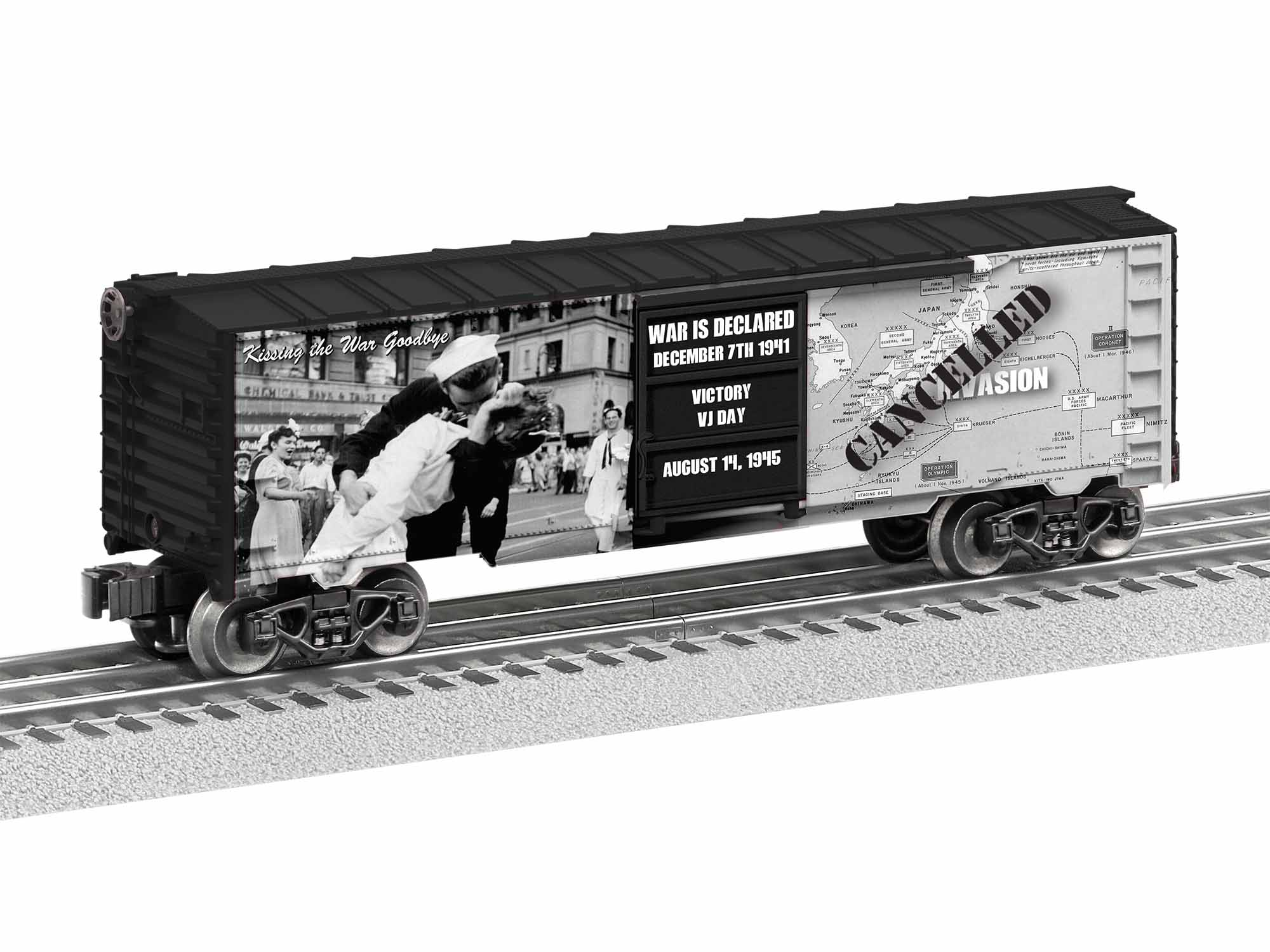 LNL1938210 Lionel O-27 Kiss the War Goodbye Boxcar Made in USA