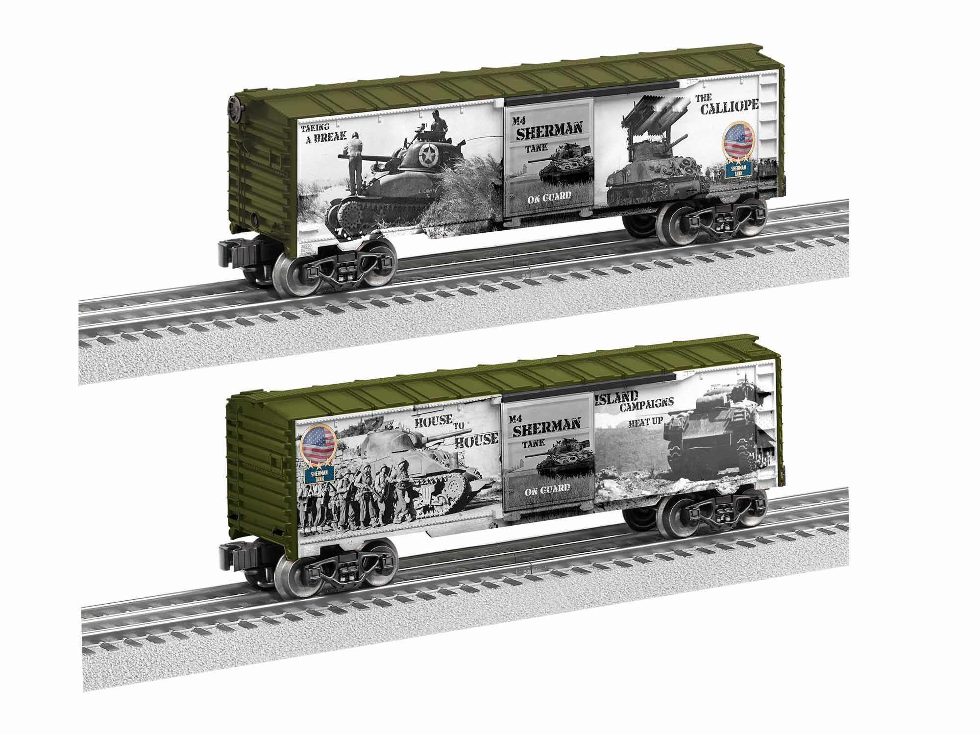 LNL1938220 Lionel O-27 WWII Sherman Tank Boxcar Made in USA