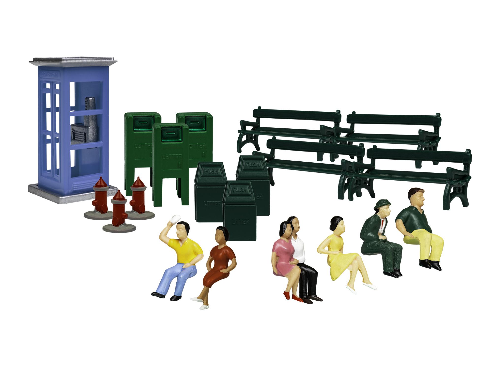 Lionel 1957260 HO Sidewalk Scenes 6 People w/ Accessories