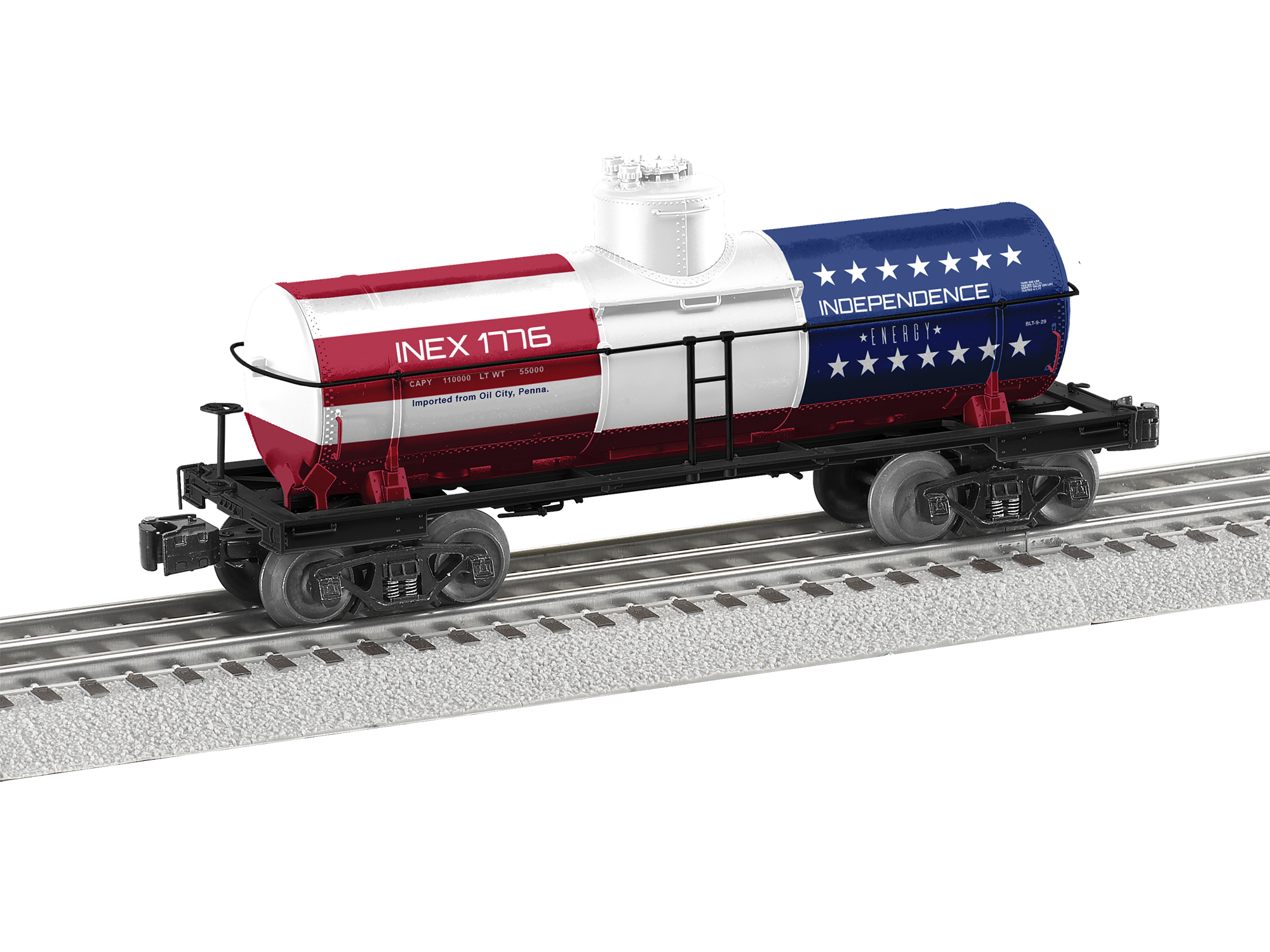 Lionel 2026300 O 8,000-Gallon Tank Car 3-Rail RTR Independence Energy 1776 434-2026300