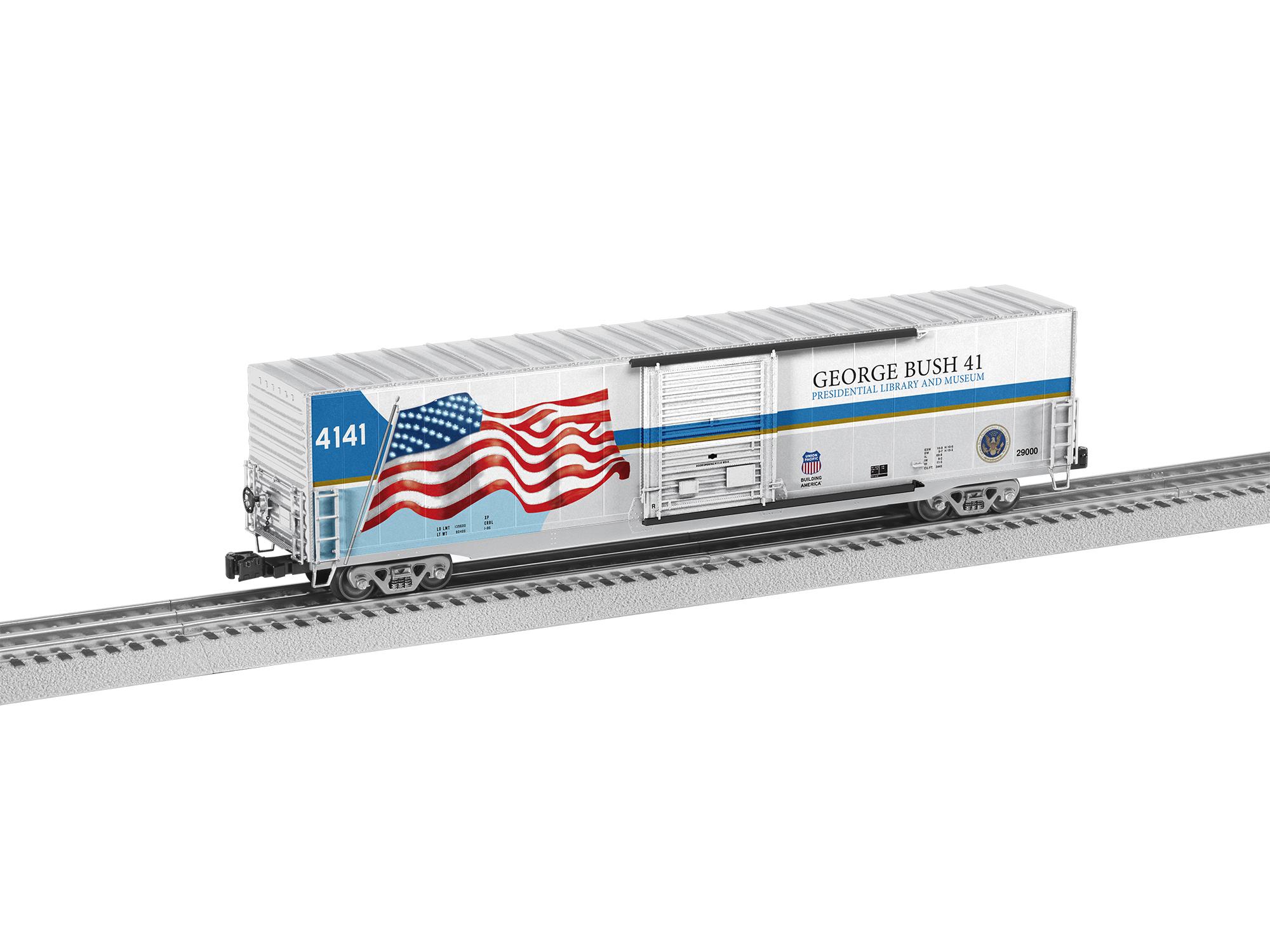 Lionel 2026370 O 60' Boxcar w/ LED Lights 3-Rail Union Pacific George H.W. Bush 4141 w/ Flag