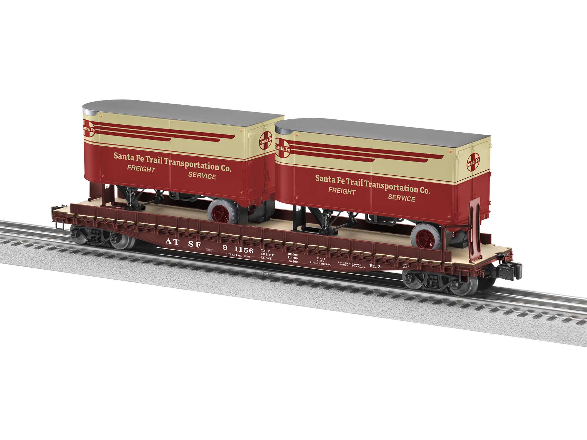 Lionel 2026611 O 50FT Flatcar w/20FT Trailer Santa Fe SF #91156