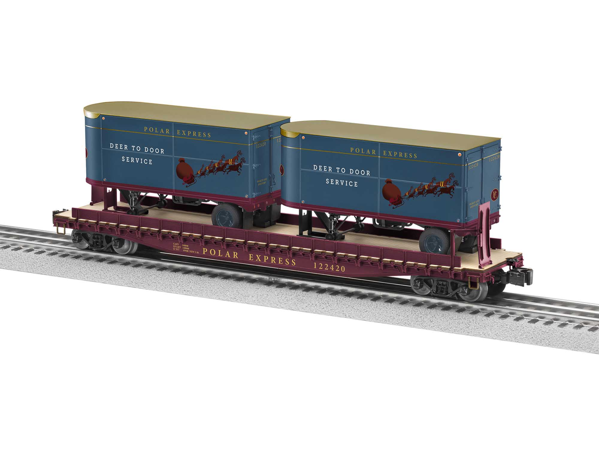 Lionel 2026671 O27 Flat Polar Express 50' w/ 20' Trailer #122420