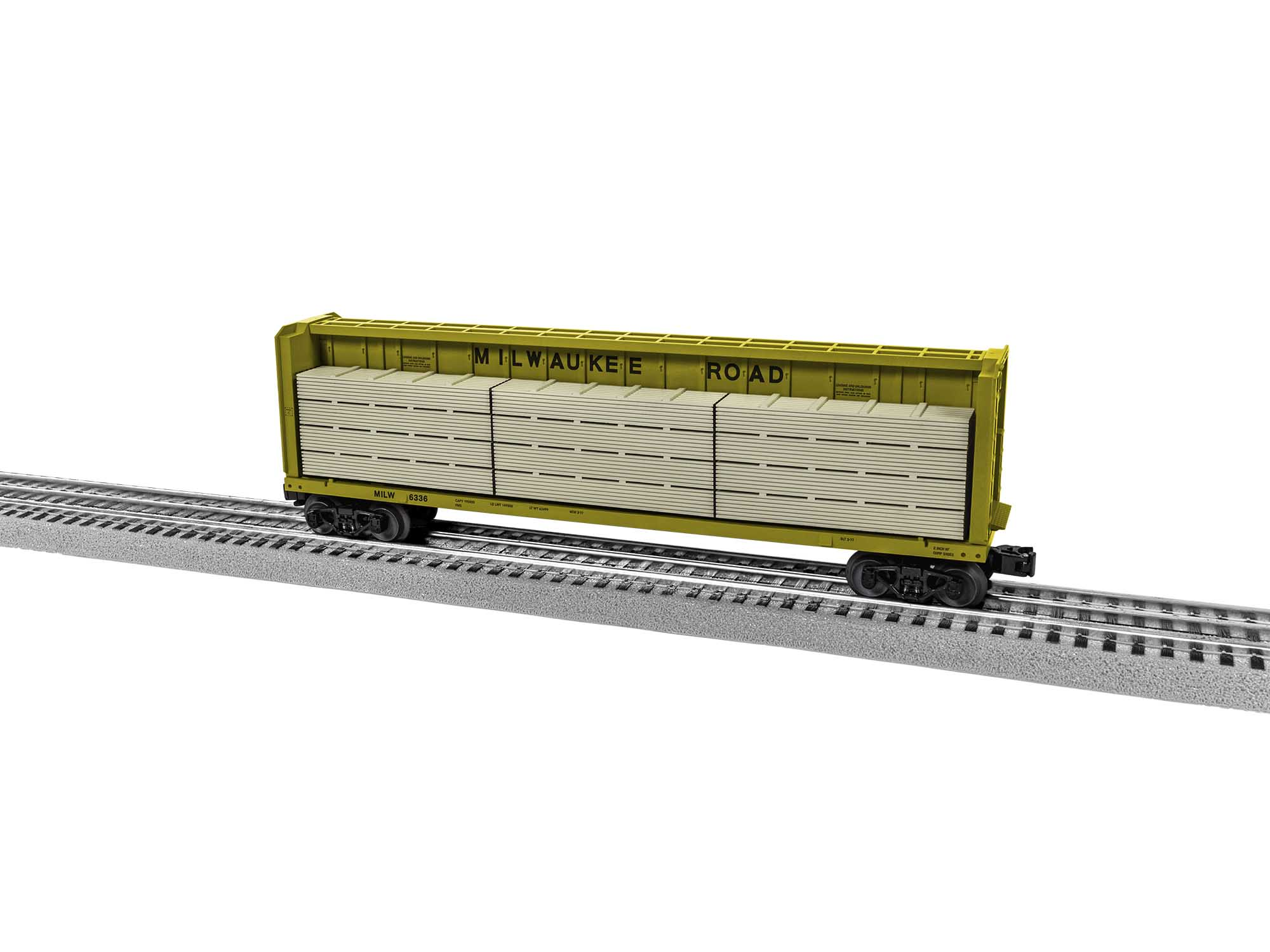 Lionel 2043053 O Centerbeam Flatcars Milwaukee MILW #6336