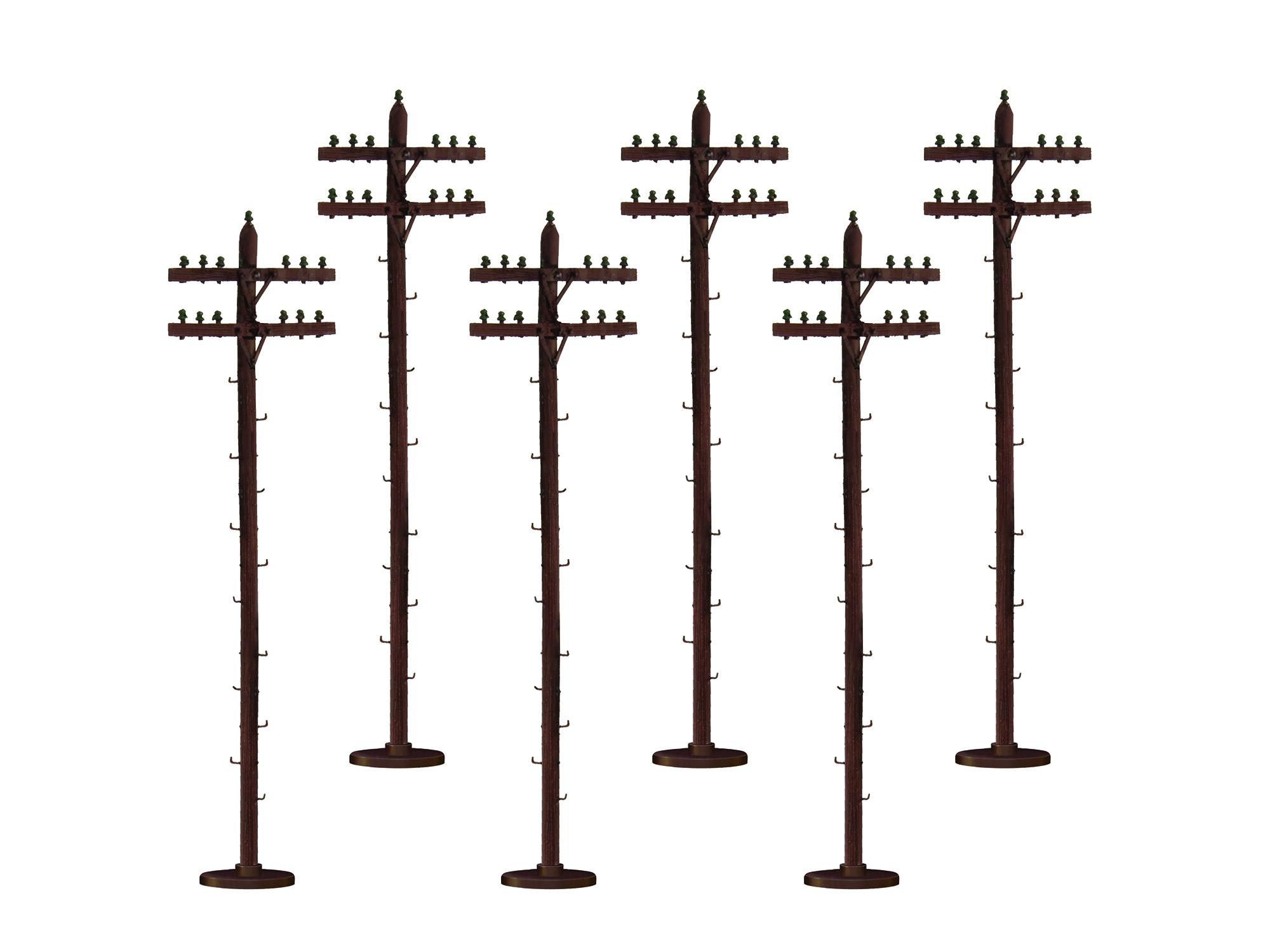 "Lionel 637851 O Scale Telephone/Utility Poles Kit Kit 7-1/2"" Tall pkg 6"