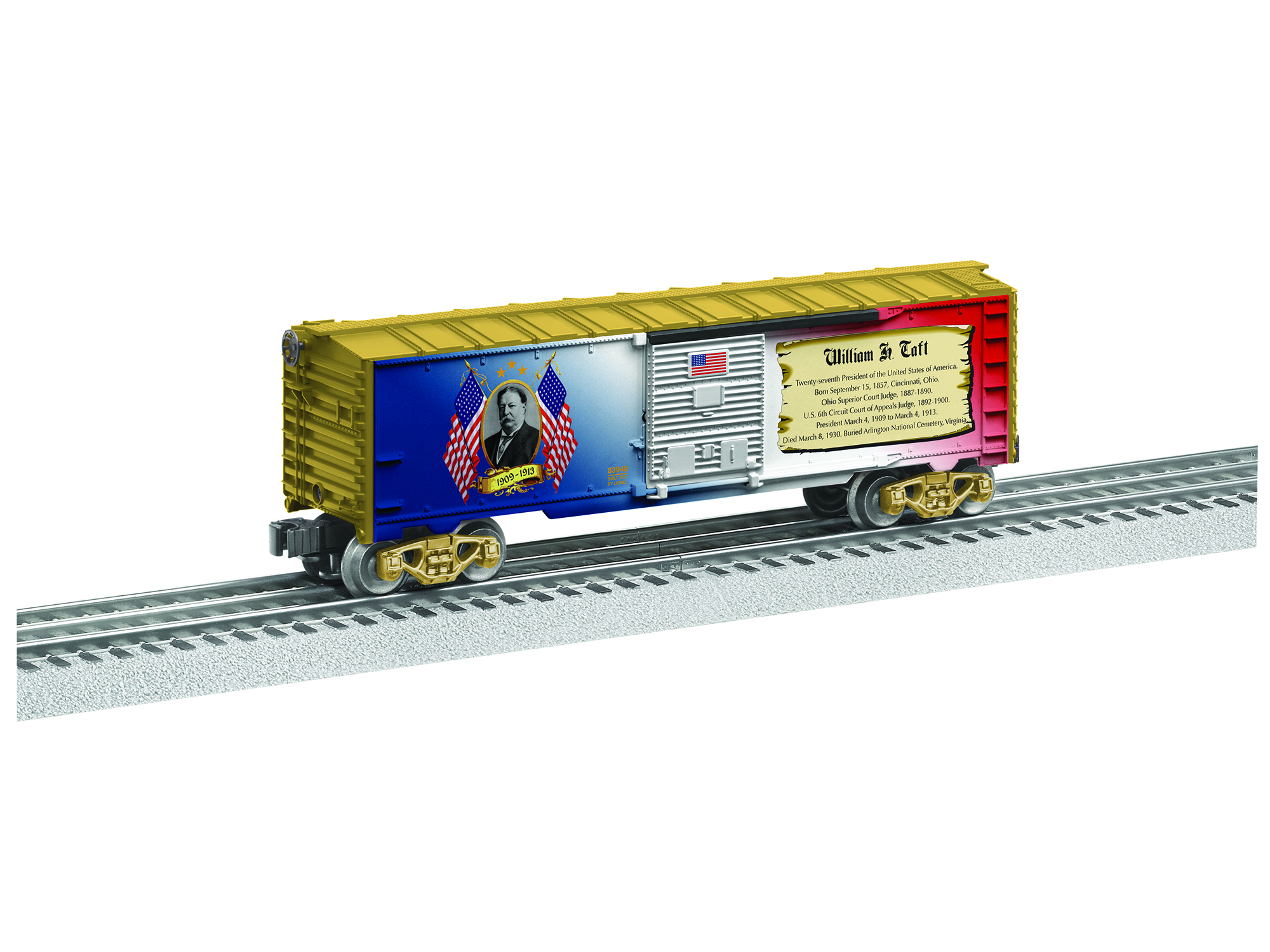 Lionel 683948 O Boxcar 3-Rail US Made William Howard Taft Presidential Car Gold 434-683948