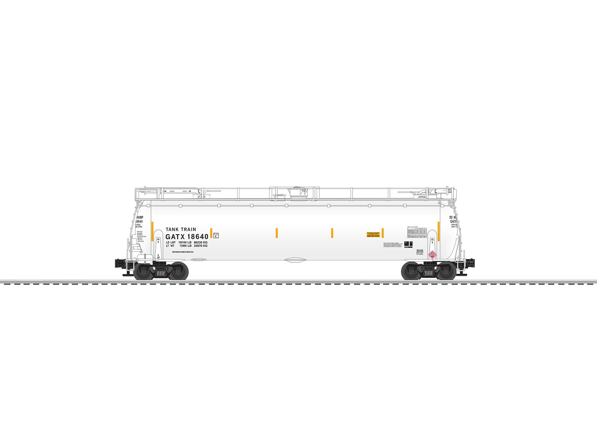 LNL685108 Lionel O TankTrain w/EOT, White (2)