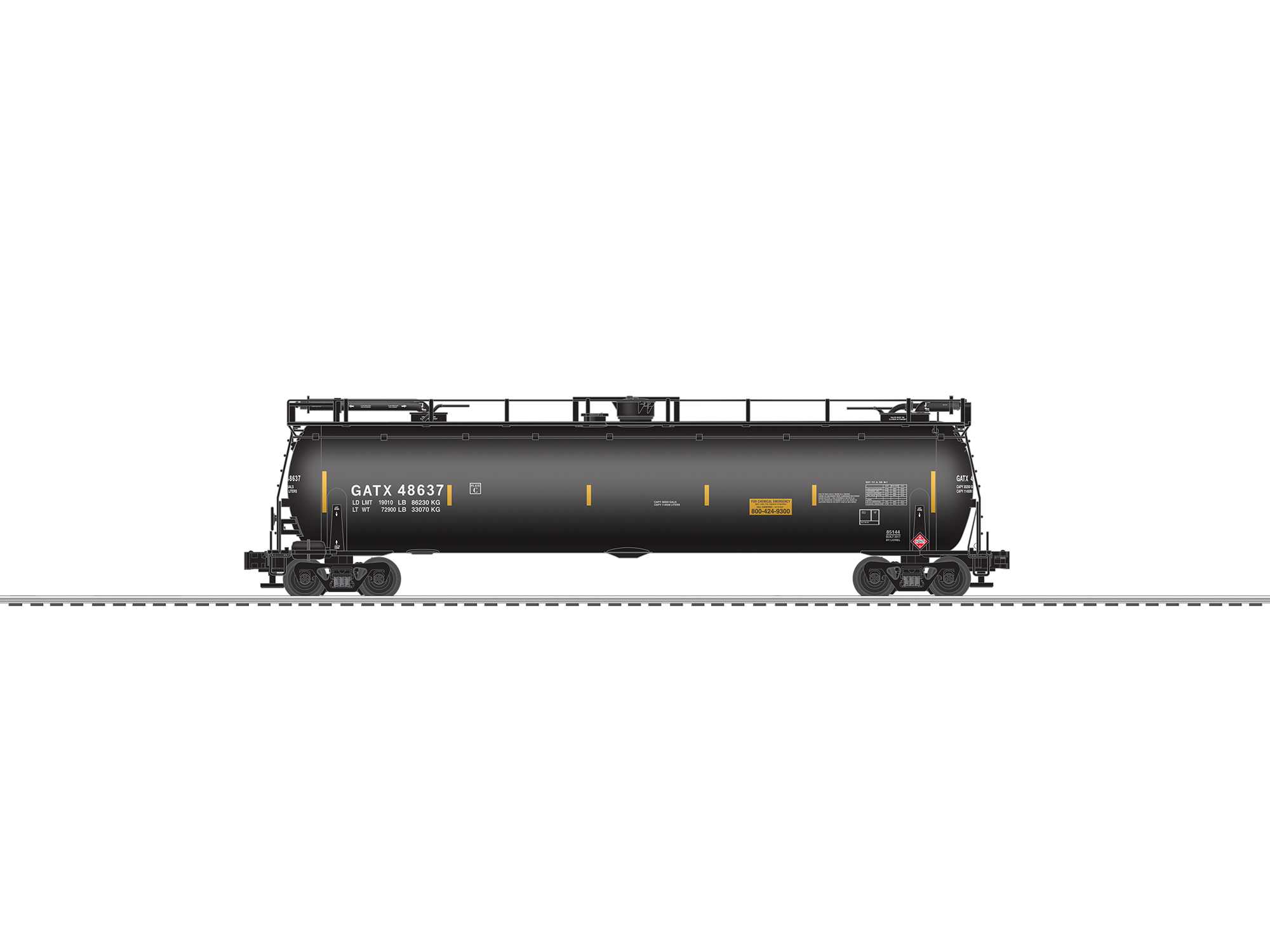 LNL685114 Lionel O TankTrain w/EOT, GATX/Black (2)