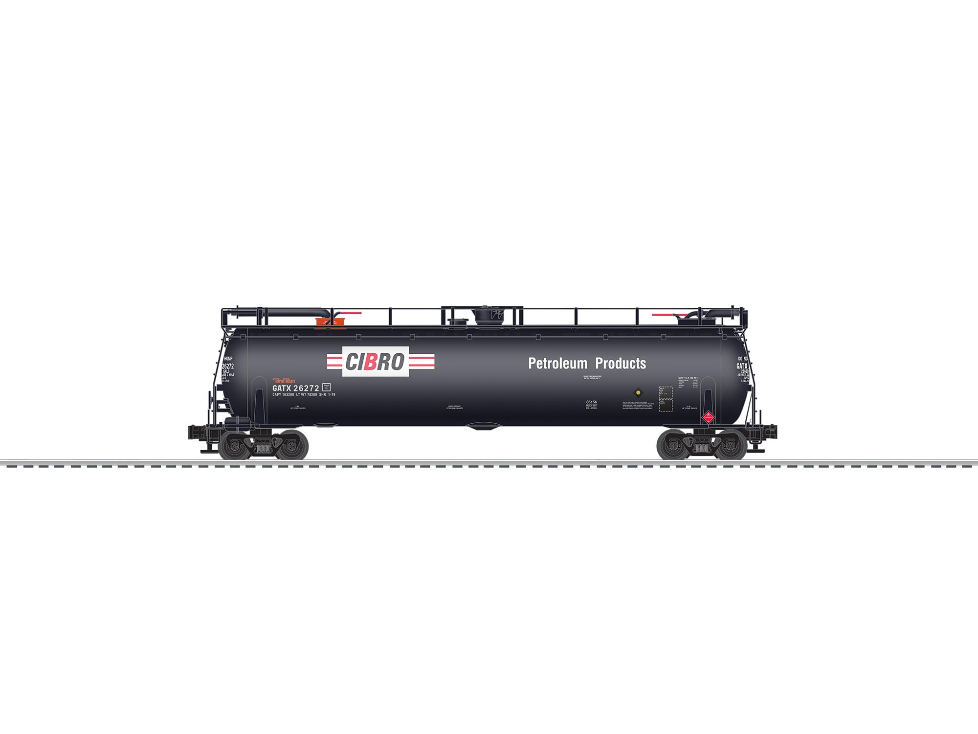 LNL685120 Lionel O TankTrain w/EOT, Cibro (2)