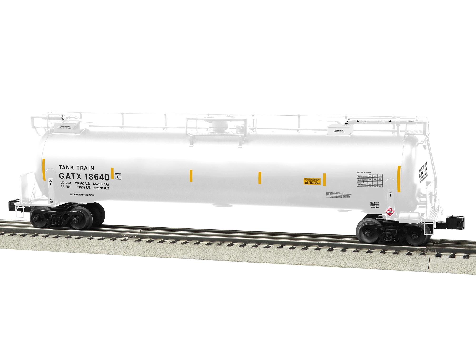 gatx tanktrain intermediate car 18640 white rh lionel com gatx tank car manual 1972 Propane Railroad Tank Car