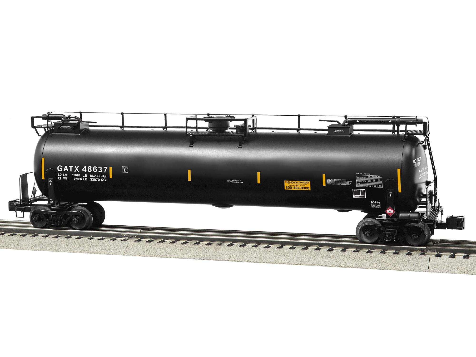 gatx tanktrain intermediate car 48637 black rh lionel com Rail Tank Car Types Pressurized Rail Tank Car