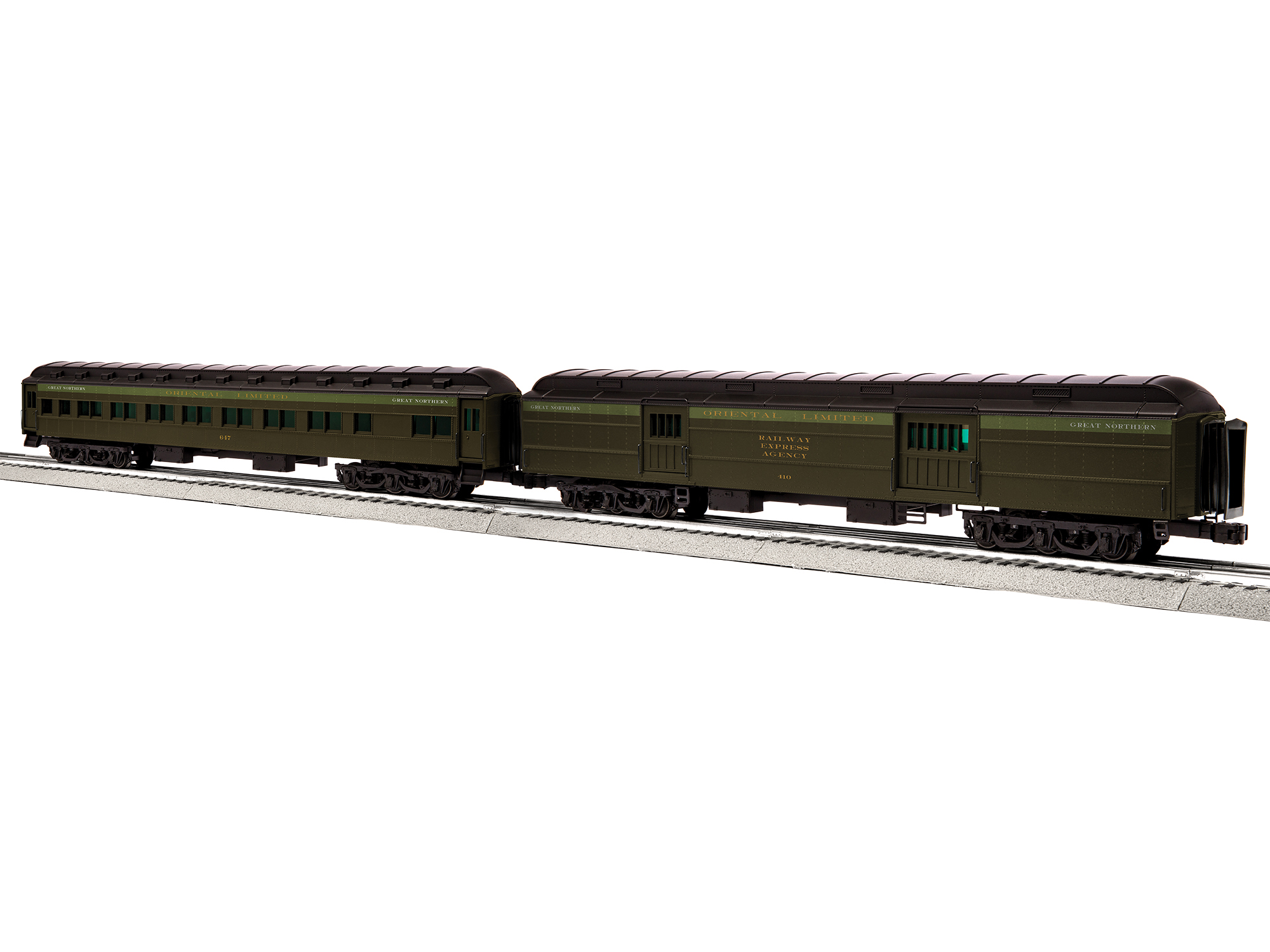 """Lionel 685227 O 18"""" Baggage/Coach GN/Oriental Limited"""
